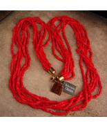 "30"" Deep Red bohemian glass signed necklace - designer jewelry - origina... - $75.00"