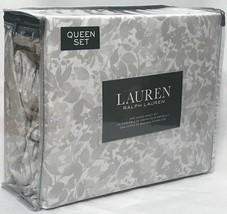 Ralph Lauren Queen Sheet Set with Gray Floral Pattern on White Ground 20... - $84.14