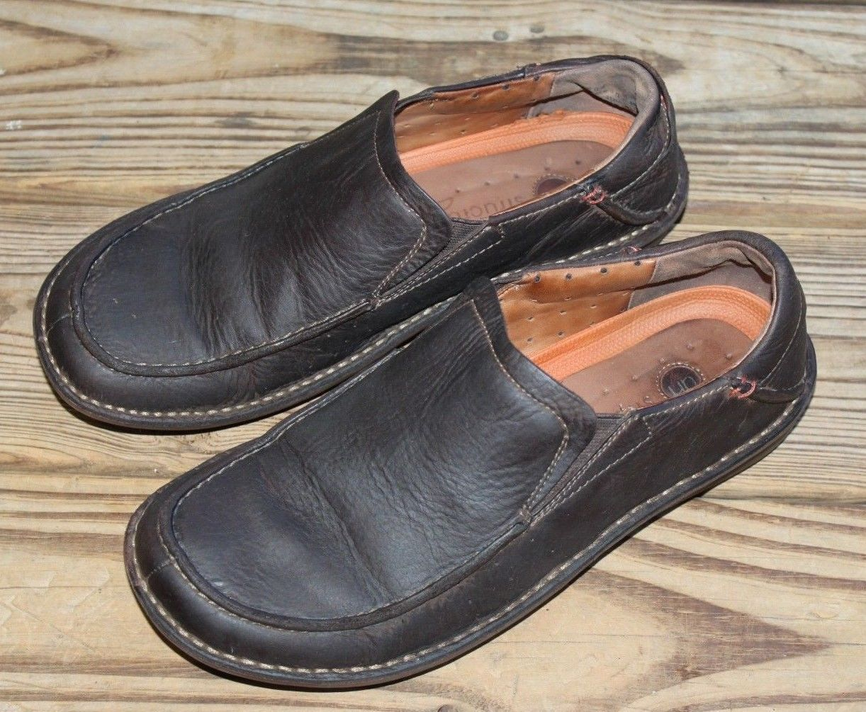 Clarks Size 9 M Structured Shoes Brown Leather Upper Slip On Comfort Men's