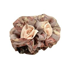 Graceful Brown Flower Chiffon Hair Claw Clip for Ladies