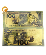 Russian 100 Ruble Gold Banknote 24k Replica Money Astronaut Note for Col... - ₹348.90 INR