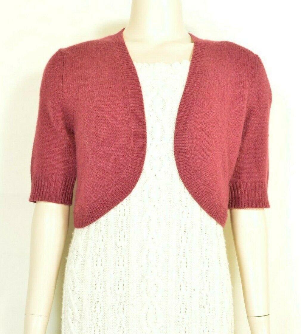 Neiman Marcus sweater M NWT red 100% cashmere shrug bolero cropped $195 new