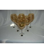 6 Vintage Crystal Fumo Goblets Hand Made Italy Amber Etched Leaves MINT - $113.85