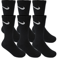 Nike 6-Pair Men's Performance Cotton Crew Socks Large 8-12 Black - $20.35