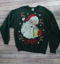 Unisex Men's Women's Pixle Beer Santa Christmas Cheers Sweatshirt Sweate... - $9.49