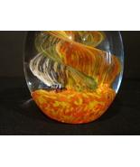 Egg-Shaped Glass Paperweight, Orange-Yellow Sea Plant Design - $20.99