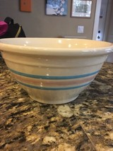 """McCoy Pottery Medium 10"""" Mixing/Serving Bowl Blue Pink Striped Ring Band... - $18.46"""