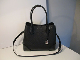 正宗Michael KOrs Mercer Gallery中号中心拉链手提袋黑色皮革NWT-$ 169.99