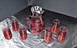 Red Opaque Pitcher with 6 Matching Glasses AA18 - 1178 Vintage image 4