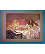 NUDE Young Maiden Awoken Warm Light of Lamp - COLOR Typogravure Print - $22.95