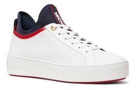 MICHAEL Michael Kors Ace Perforated Leather and Scuba Sneakers Size 5.5 - $100.97