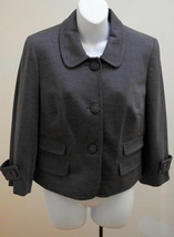 Ann Taylor Loft 10 M Gray Jacket Career Cropped Blazer Pockets - $19.59