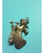 ANGEL Joy Playing Trumpet BROOCH Pin in Sterling Silver - 2 1/8 inches - $45.00