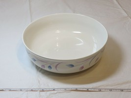 Mikasa Satin Ivory K7001 Andrea Japan Serving Bowl off white blue lavender - $21.32
