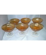 Imperial Glass Marigold Smooth Rays 6 Tall Sherbet Carnival Bowls Depres... - $22.99