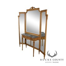 1920's Vintage French Louis XVI Style Tri-Fold Mirror with Dressing Tabl... - $2,795.00