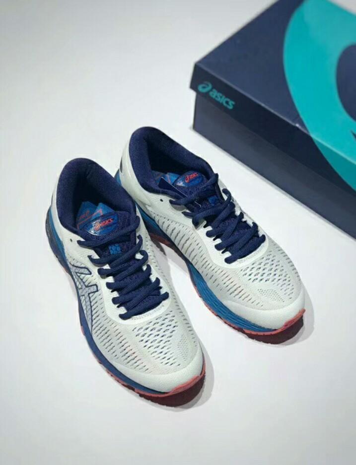 Asics Men's Gel-Kayano 25 White/Blue Running Shoe