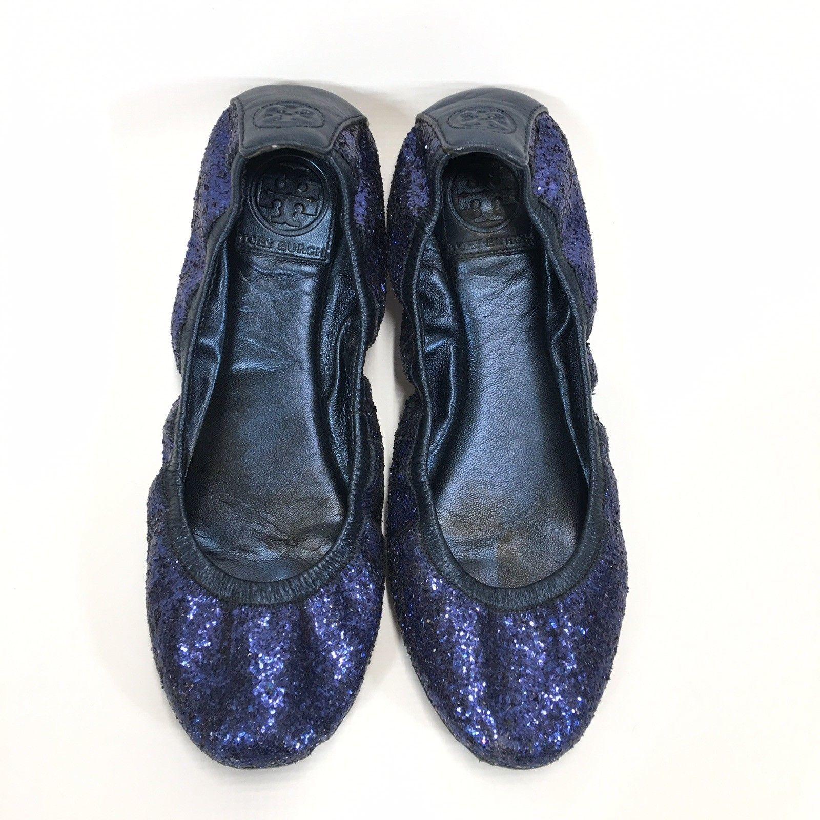 Tory Burch Blue Glitter Ballet Flat Womans 8 Medium Eddie