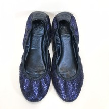 Tory Burch Blue Glitter Ballet Flat Womans 8 Medium Eddie - $38.65