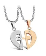 His Hers Matching Set Titanium Stainless Steel Couple Pendant Necklace K... - $52.07