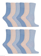 12 Pairs Womens Sockshop Cotton Gentle Grip Socks 4-8 uk,37-42 Eur GG73 ... - $17.17