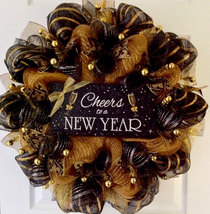 Cheers To A New Year Handmade Deco Mesh New Years Wreath - $92.99