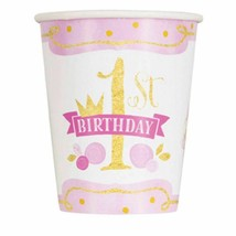 1st Birthday Pink Gold Girls 8 Ct 9 oz Hot Cold Cups Paper - $3.26