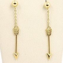 DROP EARRINGS YELLOW GOLD 750 18K, ARROWS, ARROW, MADE IN ITALY - $180.89