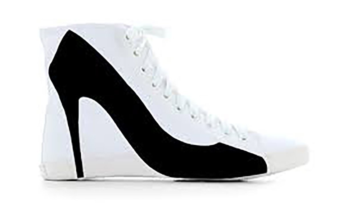 Primary image for Big City White Canvas Black Stiletto Sneaker By BE&D / Maison Dumain