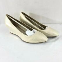 Bandolino Womens Wedge Heels Canvas Slip On Gold Metallic Size 5.5 - $24.18