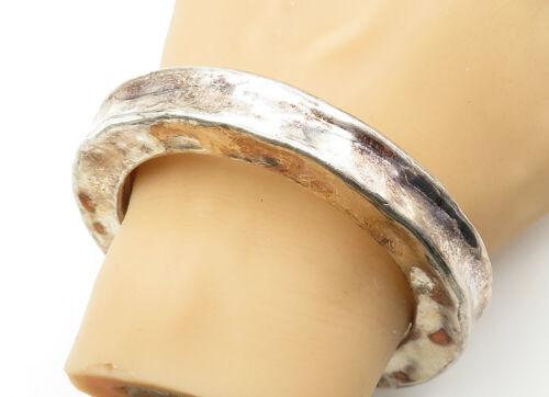 BAT-AMI ISRAEL 925 Silver - Vintage Hollow Hammered Bangle Bracelet - B6276