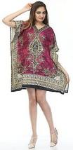 Short Decorative Floral Kaftan~Bohemian Beach Top~Free Size Hippie Caftan Dress - $8.59