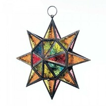 Multi Faceted Colorful Glass Star Candle Lantern - $28.47