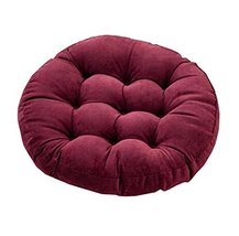 21-Inch Round Floor Pillow Tufted Support Padded Boosted Cushion, Red Wine - $40.52