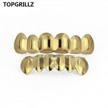 TOPGRILLZ Gold Silver Plated HIP HOP Teeth Grillz Top& Bootom Groll Set ... - $20.48