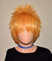 Unisex Anime Short Wig Straight Hair Cosplay Costume Party Halloween Gol... - $14.97