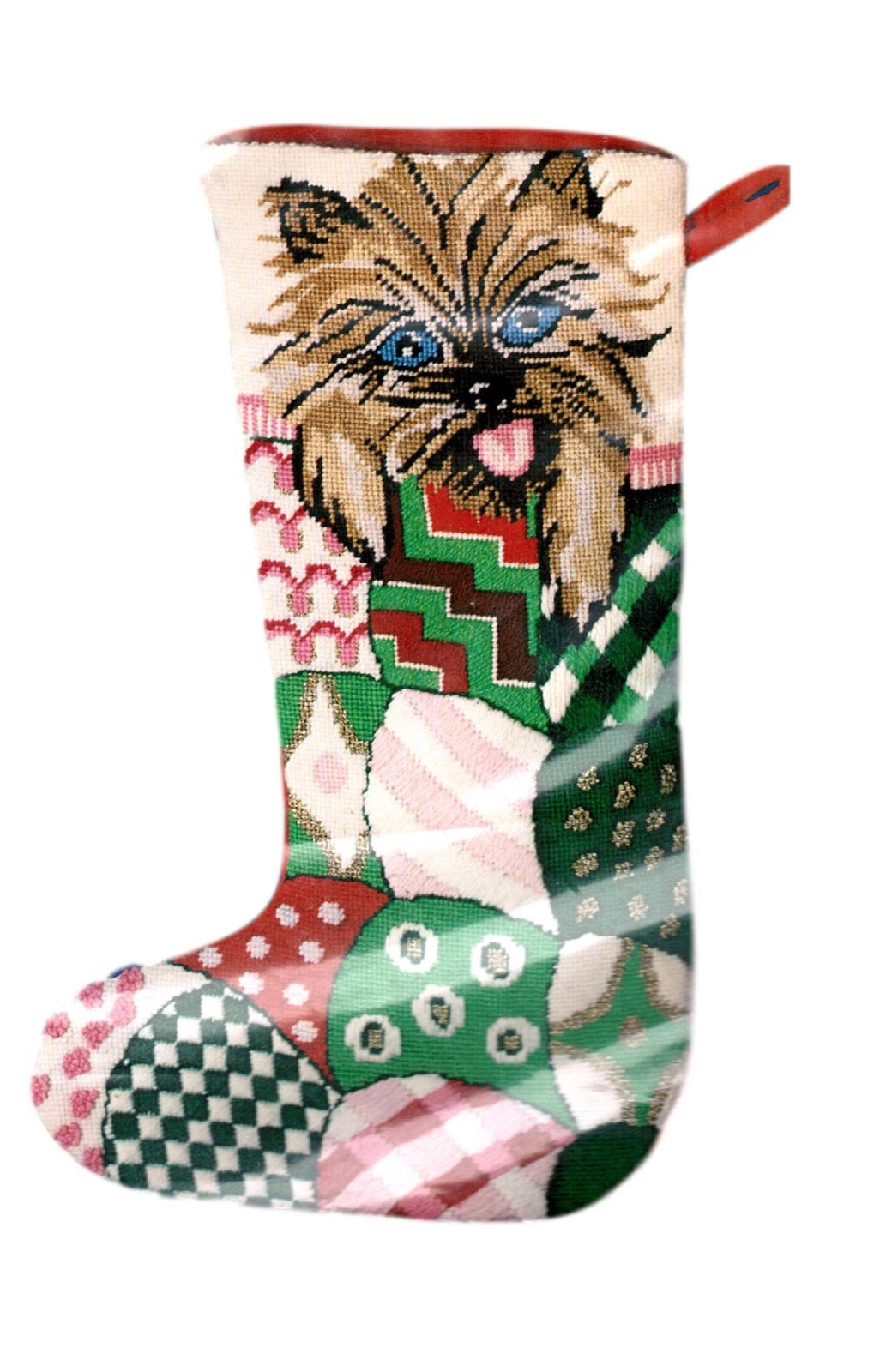 Primary image for Dog Christmas Stocking, Puppy Needlepoint Christmas Stocking, Christmas Canine