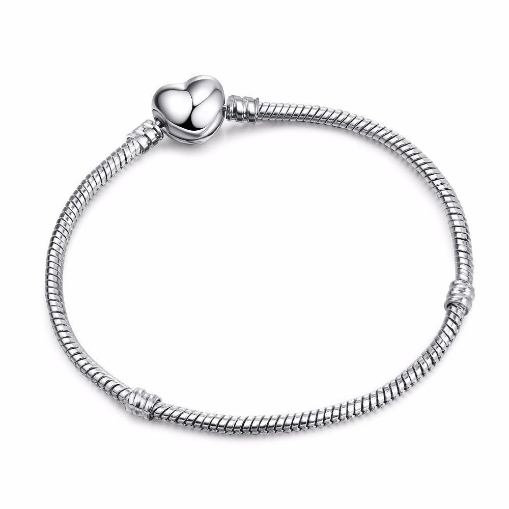 High Quality 17-21cm Silver Snake Chain Link Bracelet Fit European Charm