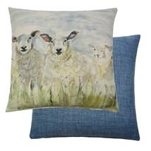 Designer Voyage Lorient Decor Herd of Sheep Reversible Filled Cushion Ma... - $28.31