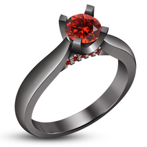Round Cut Red Garnet Ladies Wedding Solitaire Ring Black Gold Plated 925... - $79.99