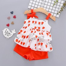 Summer Princess Girl Clothes Set Sleeveless Flower Print Tops Floral Pri... - $11.99