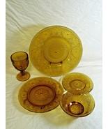 5 Pc Set Tiara Indiana Glass Honey Amber Dinner Salad Bread Plates Bowl ... - $39.99