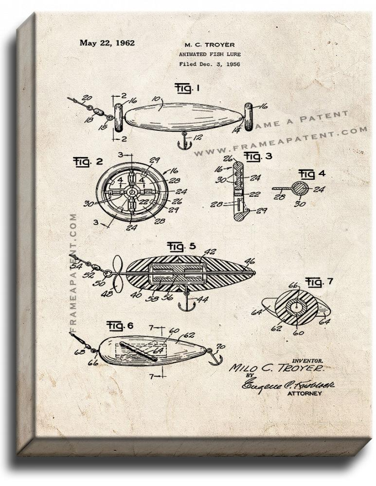 Primary image for Animated Fish Lure Patent Print Old Look on Canvas