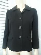 ANN TAYLOR LOFT Sz 4 Blazer Black Stretch Poly Blend Retro Mad 60s Style !! - $58.41