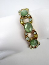Napier Green Faceted Stretch Bracelet With Small Multicolor Stones Gold ... - $17.10