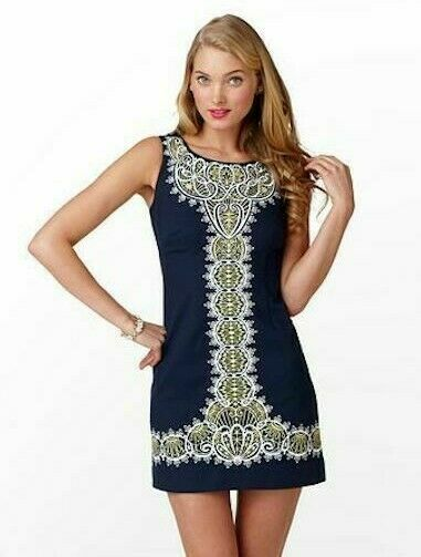 Primary image for $258 Lilly Pulitzer Delia ITrue Navy Catch A Ray Embroidered Shift Dress 2