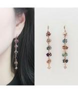 Handmade Colorful Drop Dangle Earrings AB Crystal Cubic Zirconia Hook Ea... - $32.71