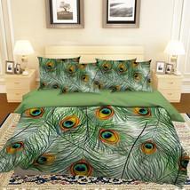 3D Peacock Feather 10 Bed Pillowcases Quilt Duvet Single Queen King US Lemon - $102.84+
