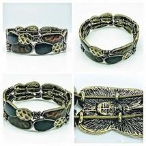 Lia Sophia Stretch Bracelet Amber Rhinestones Goldtone Enamel Tiles  - $22.77