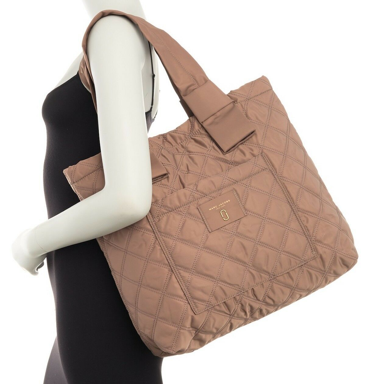 Primary image for Marc Jacobs Bag Diamond Quilted Nylon Large Knot Tote French Grey NEW